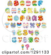 Clipart Of Colorful Funky Patterned Easter Themed Alphabet Letters Numbers And Punctuation Royalty Free Vector Illustration by Alex Bannykh