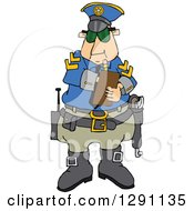 Caucasian Male Police Officer Writing A Ticket