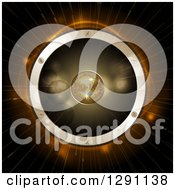 Clipart Of A 3d Gold Disco Ball In The Center Of A Giant Music Speaker Over Flares And Light Rays Royalty Free Vector Illustration