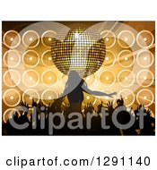 Clipart Of A 3d Gold Disco Ball And Music Speakers Over A Silhouetted Female Pop Star And Hands Of Her Fans Royalty Free Vector Illustration by elaineitalia
