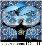 Clipart Of A Silhouetted Male Dg Wearing A Disco Shirt Holding His Arms Out Under A Blank Banner A Consol And Music Speakers On Blue Royalty Free Vector Illustration