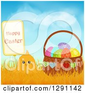 Cute Yellow Chick In Grasses With A Happy Easter Sign And A Basket Of Polka Dot Eggs Against Blue Sky