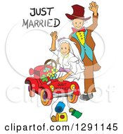 Clipart Of A Sketched Waving Senior Wedding Couple With A Just Married Car And Text Royalty Free Vector Illustration by pauloribau