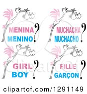 Clipart Of Pink Winged Sketched Black And White Storks With Baby Bundles And Text In Different Languages Royalty Free Vector Illustration