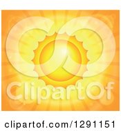 Clipart Of A Background Of A Hut Summer Sun With Flares And Orange Rays Royalty Free Vector Illustration
