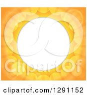 Clipart Of A Background Of Bright Orange Flares And Sunshine Rays Around A Circle Frame Royalty Free Vector Illustration