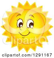Clipart Of A Happy Summer Sun Character Royalty Free Vector Illustration