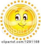 Summer Sun Character With Ring Rays