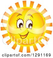 Happy Summer Sun Character With Notched Rays