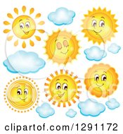 Happy Summer Sun Characters And Clouds