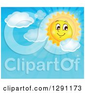Clipart Of A Happy Summer Sun Character Shining In A Blue Sky With Clouds And Text Space Royalty Free Vector Illustration