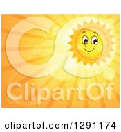 Clipart Of A Happy Summer Sun Character Shining In An Orange Sky With Flares Rays And Text Space Royalty Free Vector Illustration