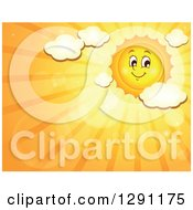 Clipart Of A Happy Summer Sun Character Shining In An Orange Sky With Clouds And Text Space Royalty Free Vector Illustration
