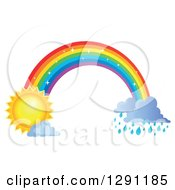 Clipart Of A Sparkly Magic Rainbow Arch With Rain Clouds At One End And A Sun At The Other Royalty Free Vector Illustration