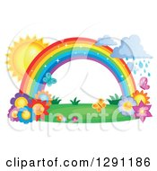 Clipart Of A Sparkly Magic Rainbow Arch With Rain Clouds The Sun Butterflies And Spring Flowers Royalty Free Vector Illustration