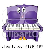 Clipart Of A Happy Cartoon Purple Piano Character Royalty Free Vector Illustration