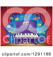 Happy Cartoon Purple Piano Character And Colorful Music Notes On Stage