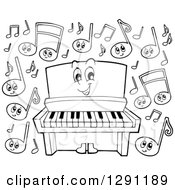 Happy Cartoon Black And White Piano Character And Music Notes