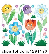 Poster, Art Print Of Happy Cartoon Flower Characters With Grass