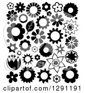 Clipart Of Black And White Flowers And Leaves Royalty Free Vector Illustration