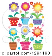 Clipart Of Potted Flower Plants Royalty Free Vector Illustration