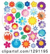 Clipart of Colorful Flowers 2 - Royalty Free Vector Illustration by visekart