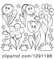Clipart Of Black And White Happy Cartoon Flower Characters With Grass Royalty Free Vector Illustration