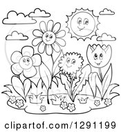 Clipart Of Black And White Group Of Happy Cartoon Flower Characters And The Sun Royalty Free Vector Illustration by visekart