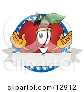 Clipart Illustration Of A Red Apple Character Mascot Logo With Stars