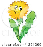 Happy Cartoon Dandelion Flower Character