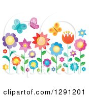 Clipart Of Colorful Butterflies Over Flowers In A Garden Royalty Free Vector Illustration