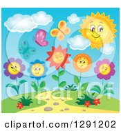Clipart Of Butterflies Over Flower Characters In A Hill Top Garden With A Happy Sun Royalty Free Vector Illustration