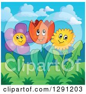 Clipart Of Happy Dandelion Tulip And Daisy Flowers In A Meadow Garden Royalty Free Vector Illustration by visekart