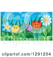 Clipart Of Happy Dandelion Daisy Bell And Tulip Flower Characters In A Garden Royalty Free Vector Illustration by visekart