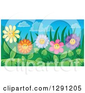 Clipart Of Colorful Happy Flower Characters In A Garden Royalty Free Vector Illustration