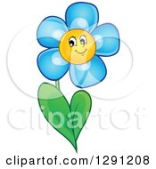 Clipart Of A Happy Cartoon Blue Daisy Flower Character Royalty Free Vector Illustration