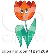 Clipart Of A Happy Cartoon Red Tulip Flower Character Royalty Free Vector Illustration by visekart