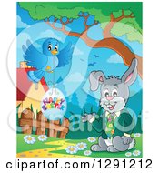 Clipart Of A Happy Presenting Business Rabbit With A Bluebird And Happy Easter Egg Royalty Free Vector Illustration