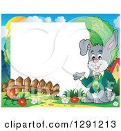 Clipart Of A Happy Presenting Business Easter Rabbit With A Spring Time Border And Text Space Royalty Free Vector Illustration