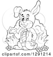 Clipart Of A Black And White Happy Presenting Business Easter Rabbit Royalty Free Vector Illustration