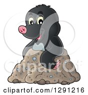 Clipart Of A Cute Happy Mole Emerging From A Hole Royalty Free Vector Illustration