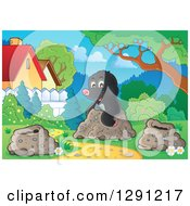 Clipart Of A Cute Happy Mole Emerging From A Hole In A Yard Royalty Free Vector Illustration