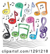 Happy Cartoon Music Note Characters A Clef And Staff Lines