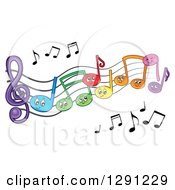 Clipart Of Happy Cartoon Colorful Music Note Characters On Staff Lines Royalty Free Vector Illustration
