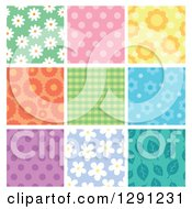 Clipart Of Floral Polka Dot Plaid And Leaf Seamless Background Patterns Royalty Free Vector Illustration