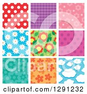 Clipart Of Polka Dot Plaid Floral And Cloud Seamless Background Patterns Royalty Free Vector Illustration by visekart