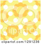 Clipart Of A Seamless Background Pattern Of Daisy Flowers Over White Polka Dots On Yellow Royalty Free Vector Illustration