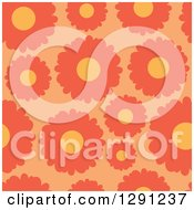 Clipart Of A Seamless Background Pattern Of Orange Daisy Flowers Royalty Free Vector Illustration by visekart
