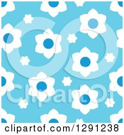 Clipart Of A Seamless Background Pattern Of White And Blue Flowers Royalty Free Vector Illustration by visekart