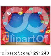 Stage With Happy Music Note Characters And Red Curtains